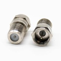 F Type Adapter Male To Female Straight Coaxial Connector Nickel Plated