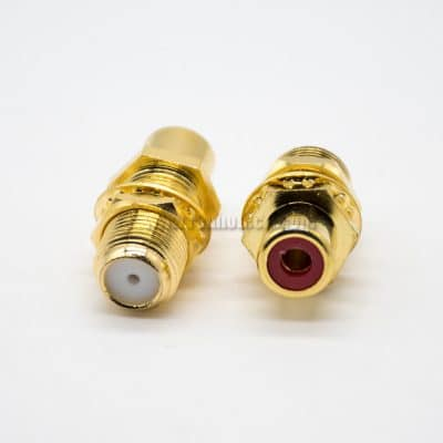 F Type Female to RCA Female Straight Plated Wall Mounting All Gold Connector