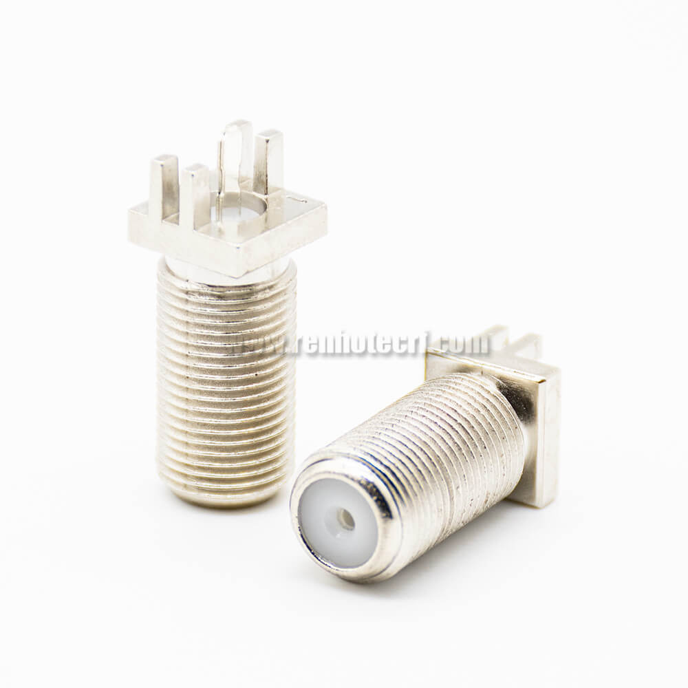 F Type Female Connector Straight Plate Edge Mount Threaded PCB Mount