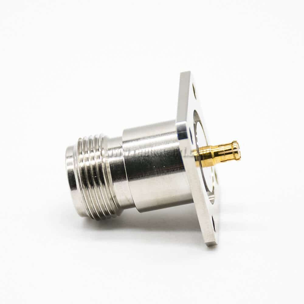 N Type Female Adapter To MCX Male Straight 4 Hole Flange RF Coaxial Connector Nickel Plating