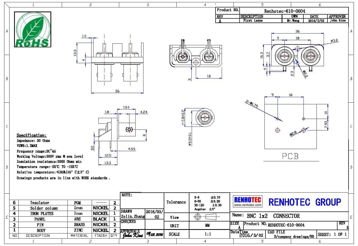 BNC PCB Connector RHT-610-0004