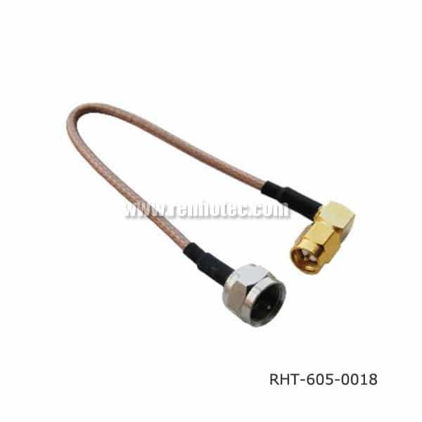 F Plug Cable Assembly with Angled SMA Plug