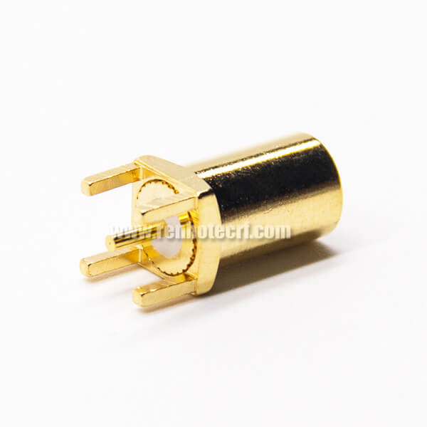 MCX PCB Mount Connector Straight Female Golding Plating Through Hole