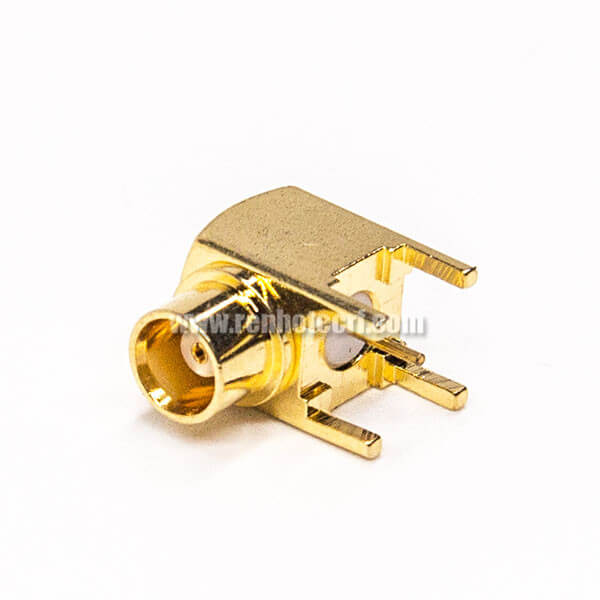 MCX Right Angle Female Connector Through Hole for PCB Mount Gold Plating