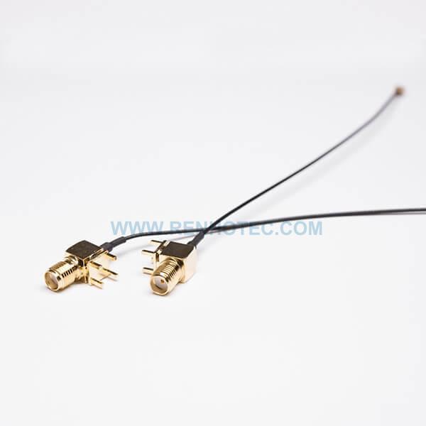 RF Cable, Black, SMA Female, Bulkhead, Angled/90°, PCB Mount, IPEX Ⅰ , SMA cable