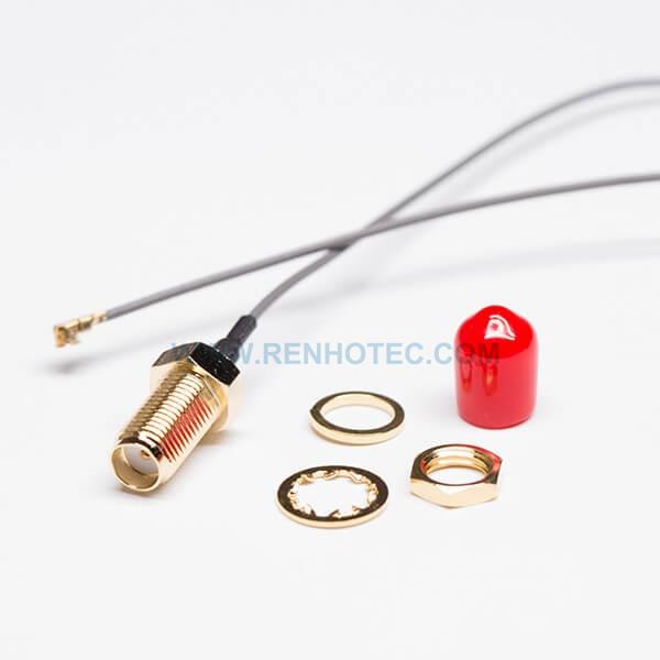 RF Cable, Gray, IPEX Ⅰ, SMA Female, Bulkhead, Dustproof, Straight/180°